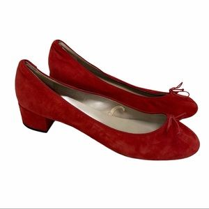Zara Woman Red Suede Leather Block Bow Heels 39